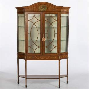 Edwardian Painted Satinwood Vitrine Cabinet