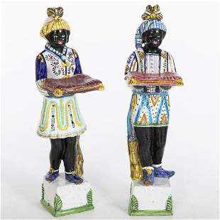 Pair of Majolica Blackamoor Figures