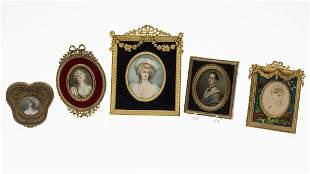 Group of Unsigned Portrait Miniatures & a Photograph