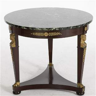 Empire Style Mahogany Marble Top Center Table, 20th C