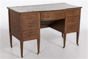 George III Style Inlaid Mahogany Desk, Late 19th C.