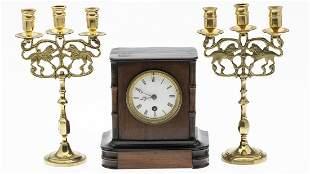 English Mahogany Mantle Clock & Pair of Candlesticks