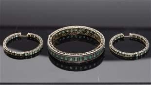 Pair of 18K Diamond & Emerald Earrings & a Bracelet