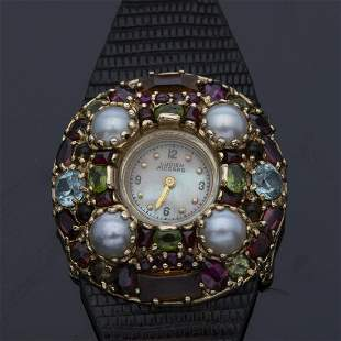 Lucian Picard 14K Gold and Stone Watch