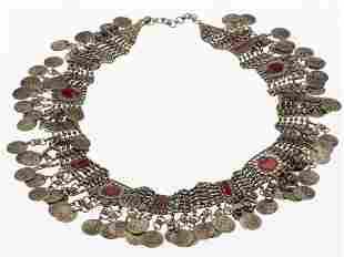 Bedouin Silvered Alloy and Enamel Belt