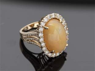 Opal, Diamond and 14K Gold Ring