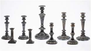 8 Sterling Silver and Silver Plate Candlesticks