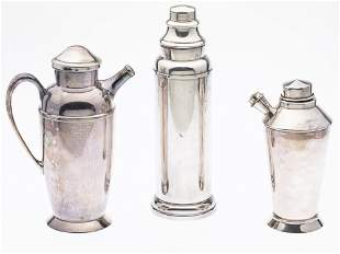 3 Silverplate Cocktail Shakers
