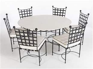Amalfi Wrought Iron Marble Top Table & 6 Side Chairs