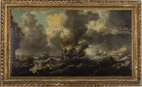 Bonaventura Peeters I, Sea Scape, Oil on Panel, 17th C