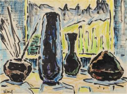 Karl Schmidt-Rottluff, Still Life, Pastel & India Ink