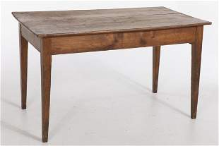 French Walnut Farm Table, 19th Century