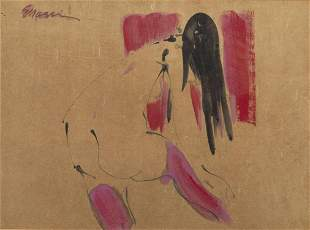 Eugine Massin, Figure with Highlights of Pink, W/C