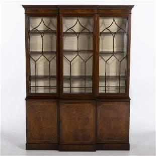 George III Style Mahogany Breakfront Bookcase, 20th C