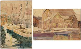 Christopher P.H. Murphy, 2 Scenes of Fishing Boats, W/C