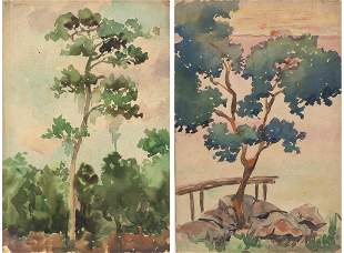 Christopher P.H. Murphy, Two Watercolors of Trees