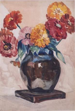Christopher A. D. Murphy, Still Life of Flowers, W/C