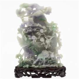 Chinese Carved Green and Lavender Jade Lidded Urn