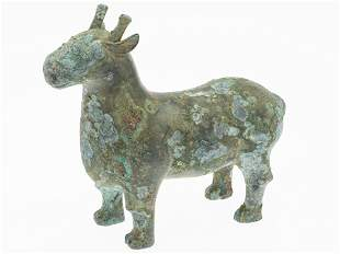 Early Warring States Style Chinese Bronze Sheep, 20th C