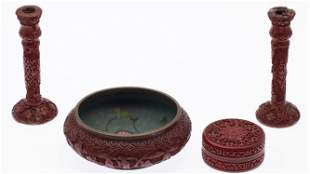Group of Chinese Red Lacquer Articles
