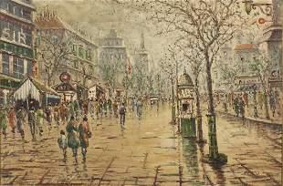 J. Gaston, Parisian Street Scene, Oil on Board