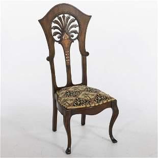 Art Nouveau Inlaid Mahogany Side Chair