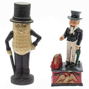 Uncle Sam & Mr. Peanut Cast Iron Piggy Banks, Modern