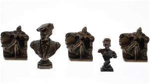 Three Metal Book Ends and Two Busts