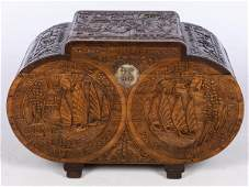 Asian Carved Wood Blanket Chest