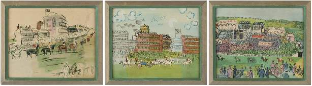 2 Raoul Dufy Lithographs of Racetracks and a Print