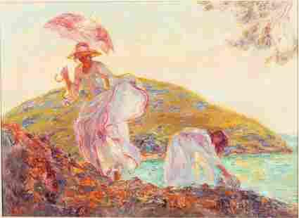 Beltran Bofill, Women by Sea Shore, Oil on Canvas