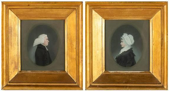 American School, Pair Pastel Portraits, Early 19th C