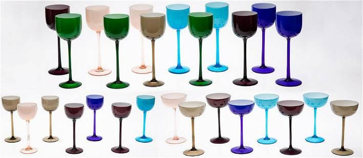 27 Italian Mid-Century Multicolored Wine Glasses