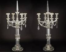 Pair of Monumental Cut Glass Candelabras, 19th C