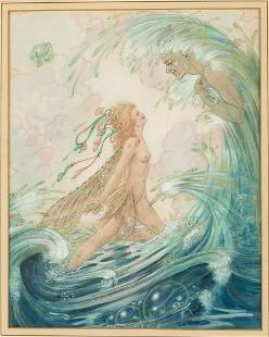 Harold Gaze, Fairy in the Waves, Watercolor and Ink