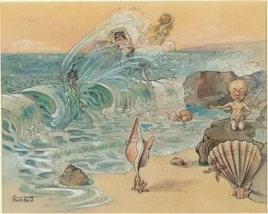 Harold Gaze, Seashore Scene, Watercolor, Pen and Ink