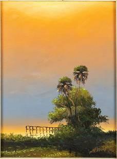 Sam Newton (FL, b. 1948), Sunset, Oil on Masonite