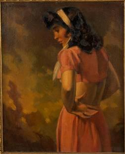 V. L. O'Connor, Pensive Miss, O/C, c. 1940s