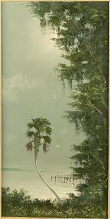Sam Newton, Palm and Dock, Oil on Masonite