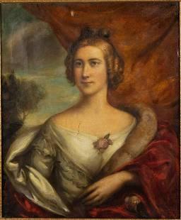 British School, Portrait of a Woman, O/C, 19th C