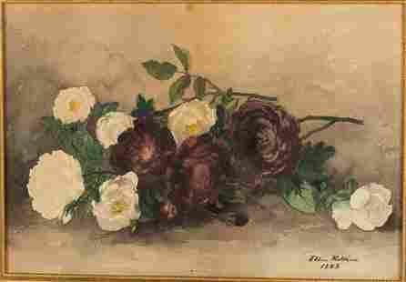 Ellen Robbins, Flowers, Watercolor on Paper, 1883