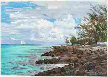 Michael Harrell, Edge of the Gulfstream, Watercolor