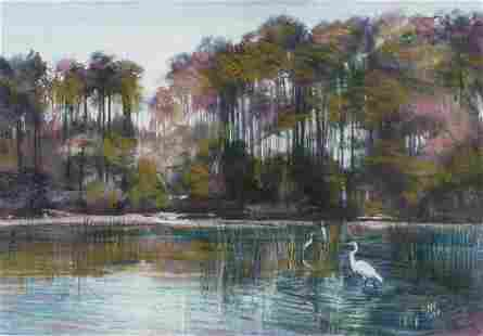 Joyce Nagel (MI/SC, b. 1934), Evening Egrets, Pastel