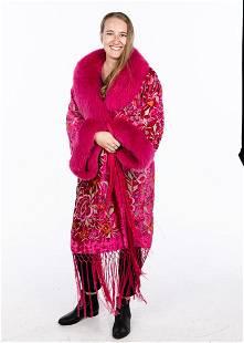 Adrienne Landau Pink Velvet and Fox Jacket