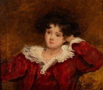 English School, Portrait of a Child, O/C, 19th C