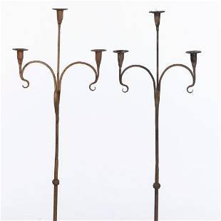 Pair of Wrought Iron 3 Light Pricket Sticks