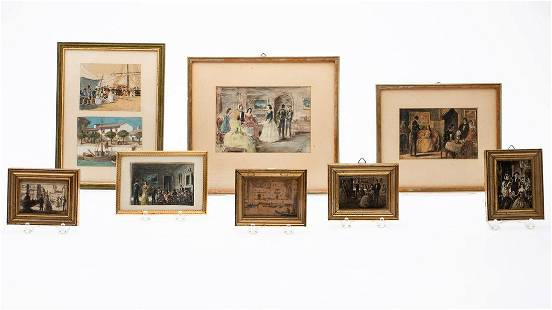 Group of 9 Miniature Framed Paintings