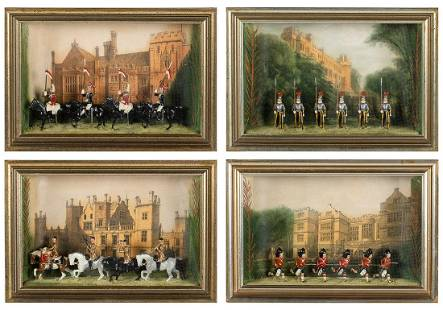 4 English Shadowboxes with Toy Soldiers