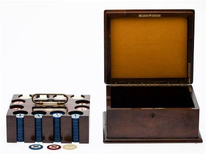 English Poker Set and Bronze Billiards Pocket