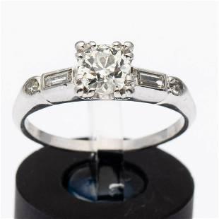 Diamond and Platinum Engagement Ring, Size 6 1/2